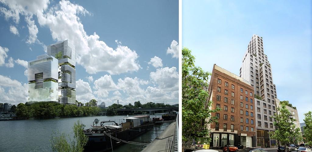 Issy-les-Moulineaux, projet lauréat, concours 2008, vue depuis les berges de Boulogne | Greenwich West, West Soho, New York City, USA, 2020
