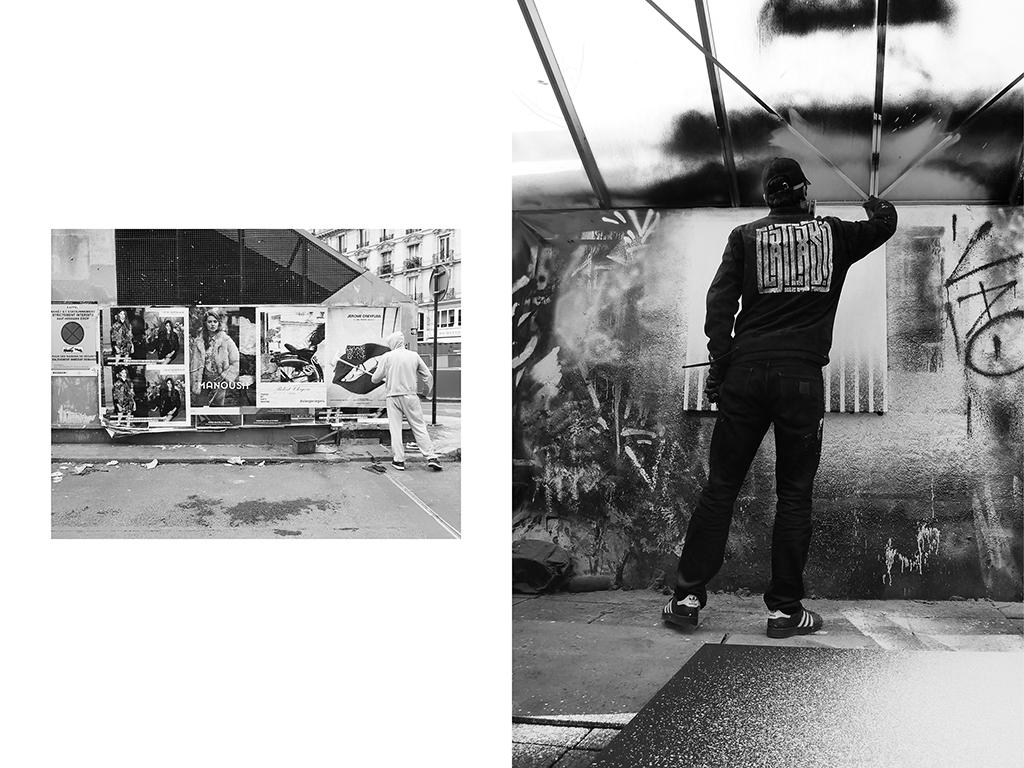 Poseur d'affiche, Les Halles, Paris | Artiste contemporain, L'Atlas,Les Lilas © Vanessa Bosio