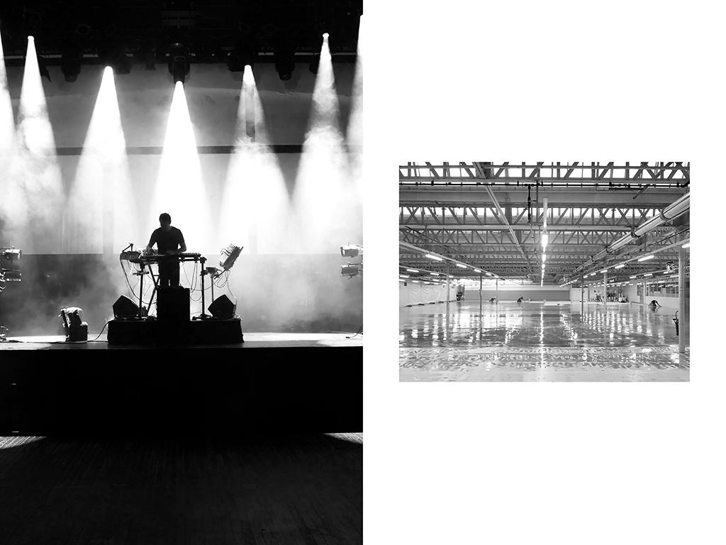 Musicien auteur compositeur, Molécule, répétiton à la Gaité lyrique | Maçons applicant une résine de finition - Usine Lacoste, Troyes © Vanessa Bosio