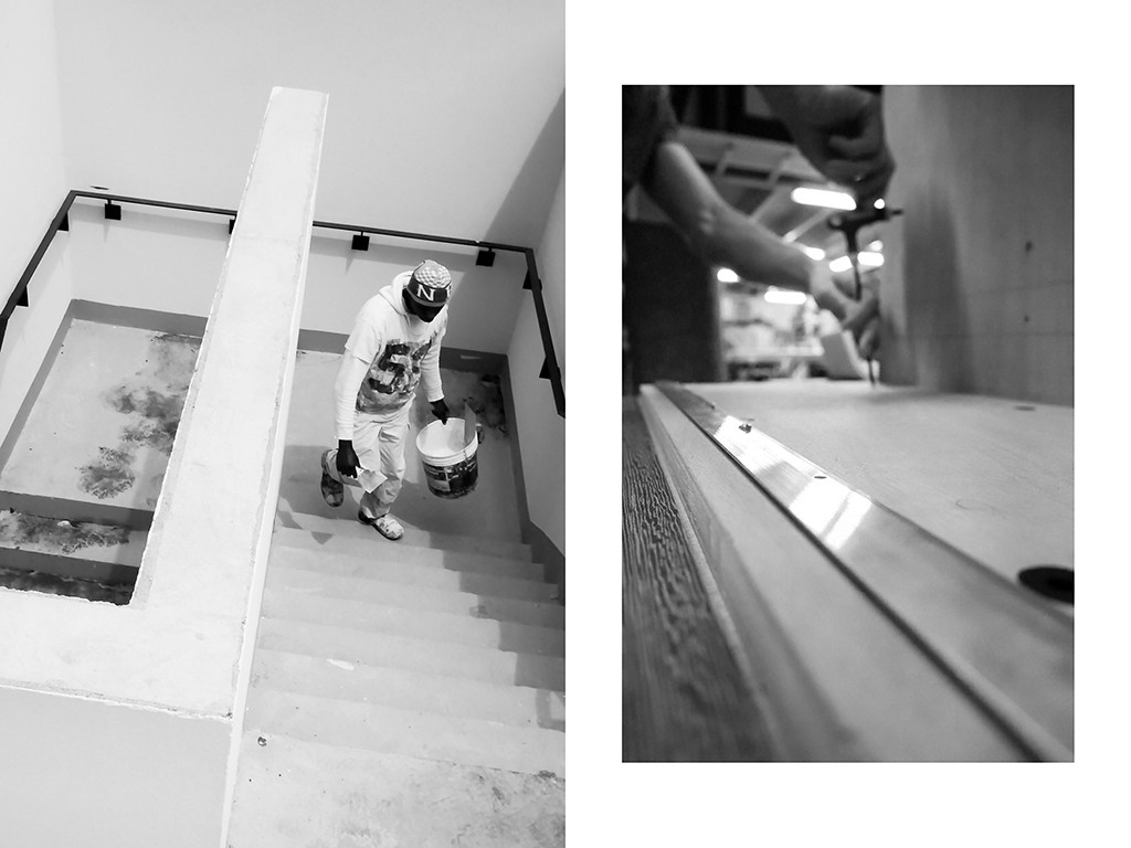 Peintre en bâtiment, chantier du siège social Lacoste, Paris | Ebeniste, Mobiler National, Paris © Vanessa Bosio