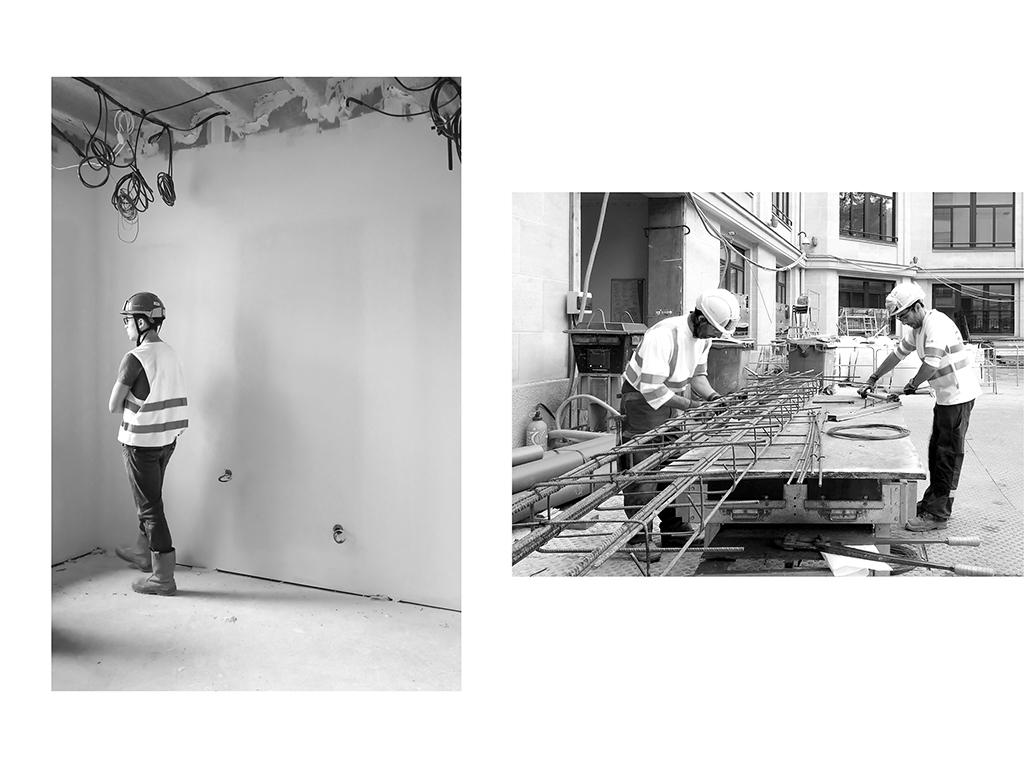 Superviseur, chantier du siège social Lacoste, Paris | Maçons, chantier du siège social Lacoste, Paris © Vanessa Bosio