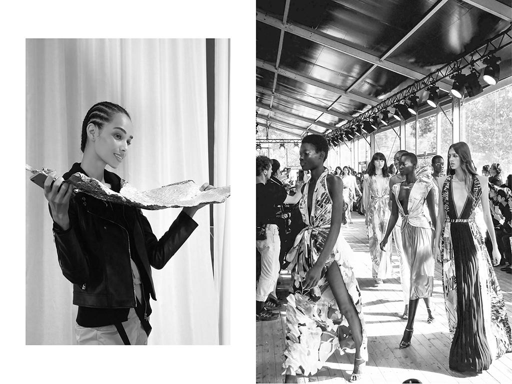 Modèle, Coulisse de la Fashion Week pour Léonard x Christine Phung, Paris | Mannequins, défilé Léonard x Christine Phung, Paris © Vanessa Bosio