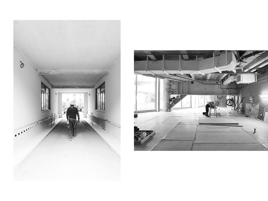 Platrier, chantier du siège social Lacoste, Paris | chauffagiste - chantier L'Exception – Canopée, Les Halles, Paris © Vanessa Bosio