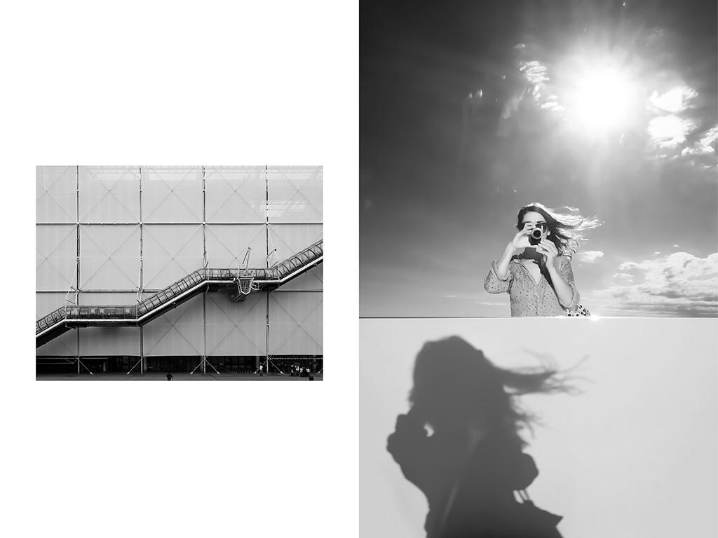 Protection de chantier, Centre Georges Pompidou ,Paris | Photographe, Vanessa Bosio, autoportrait dans l'oeuvre de Daniel Buren - Mamo Cité Radieuse, Marseille