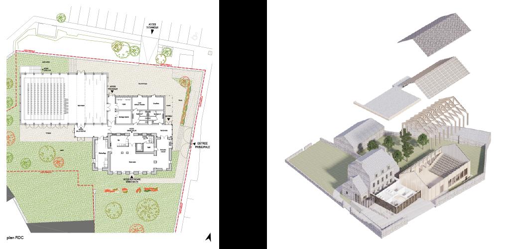 plan du RDC et axonométrie éclatée © Guinée*Potin Architectes