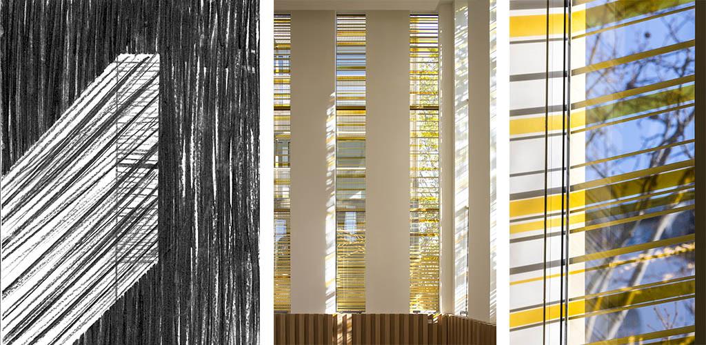 Vitraux du Centre Européen du Judaïsme, Emmanuel Barrois, 2020, dessin © Stéphane Maupin, Photographies © Clément Guillaume © Boegli Grazia