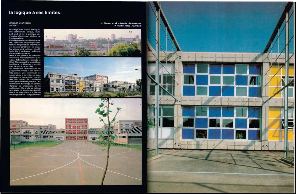 Jean Nouvel, Gilbert Lézénès, Collège Anne Frank, Antony, 1980 © L'Architecture d'Aujourd'hui