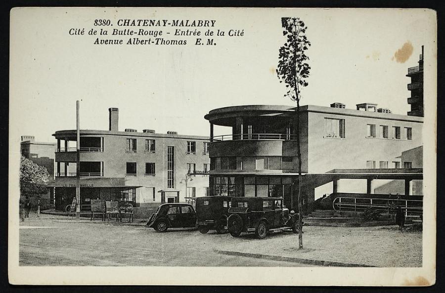 Cité de la Butte Rouge. Entrée de la Cité Avenue Albert Thomas, carte postale de 1900.