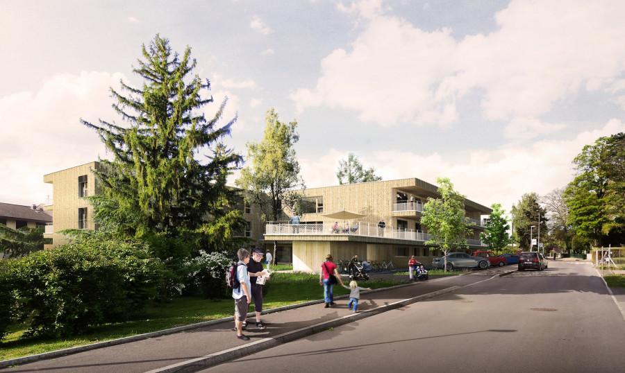 Habitat pour personnes âgées et creche à Marin-Epagnier (Suisse) ©GDArchitects