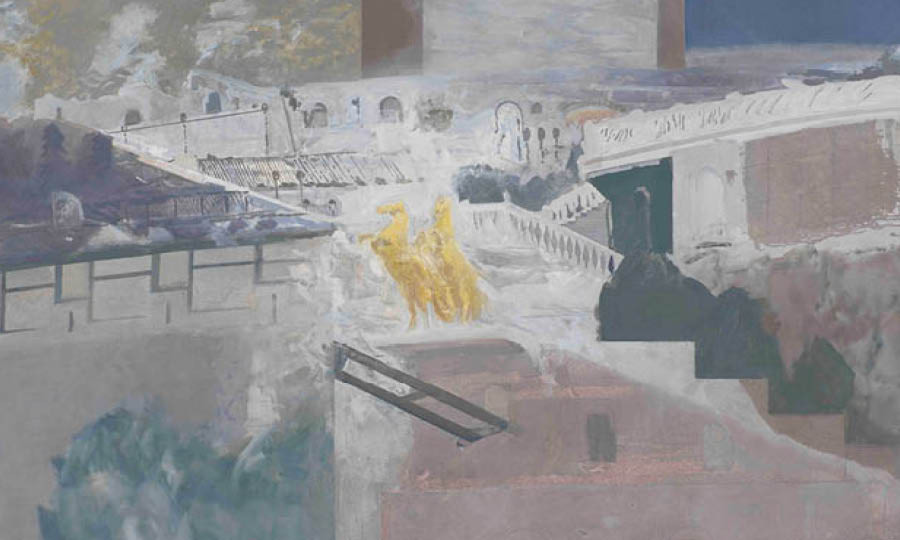 Edi Hila, Prince of the Lake, 2020, huile sur toile, H 128,5 x 168 cm |© Edi Hila, Courtesy Galerie Mitterrand