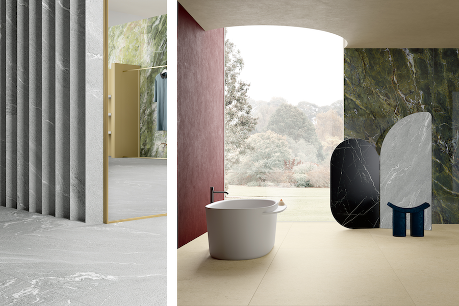 Collection Pietre Maximum, textures Quarzite Vals et Luna Limestone ©Fiandre Architectural Surfaces
