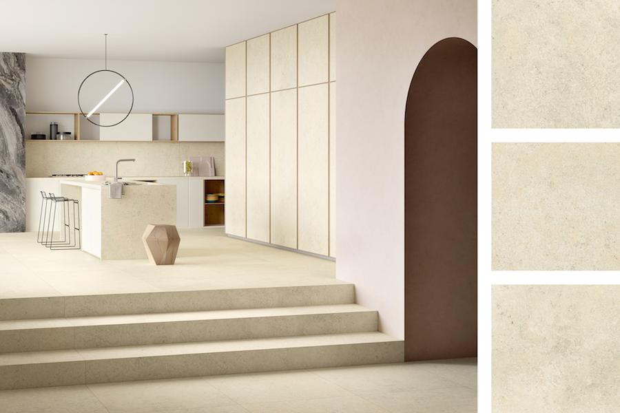 Collection Pietre Maximum, texture Luna Limestone ©Fiandre Architectural Surfaces