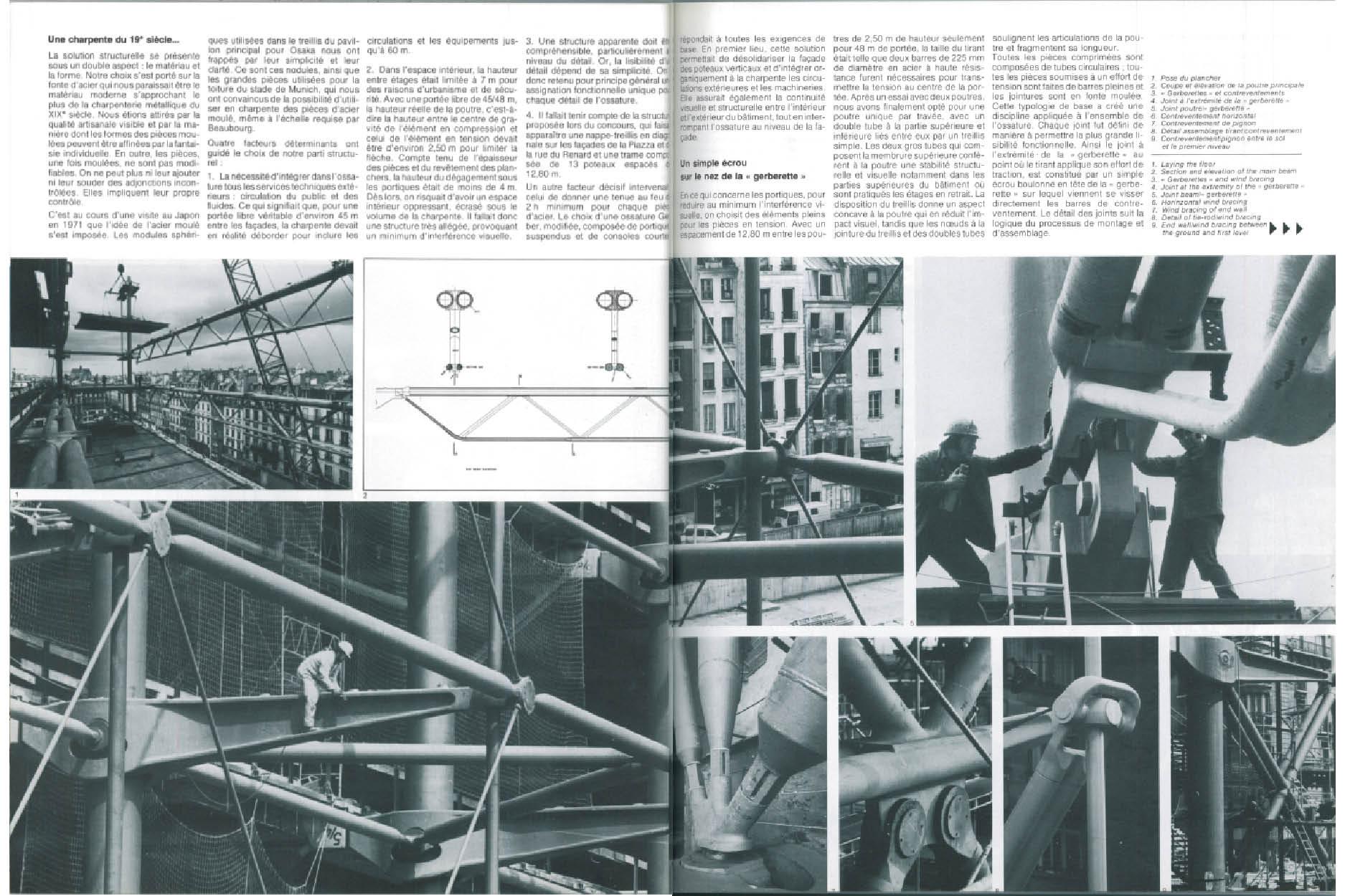 """Peter Rice, """"La structure métallique"""", AA 189, février 1977"""