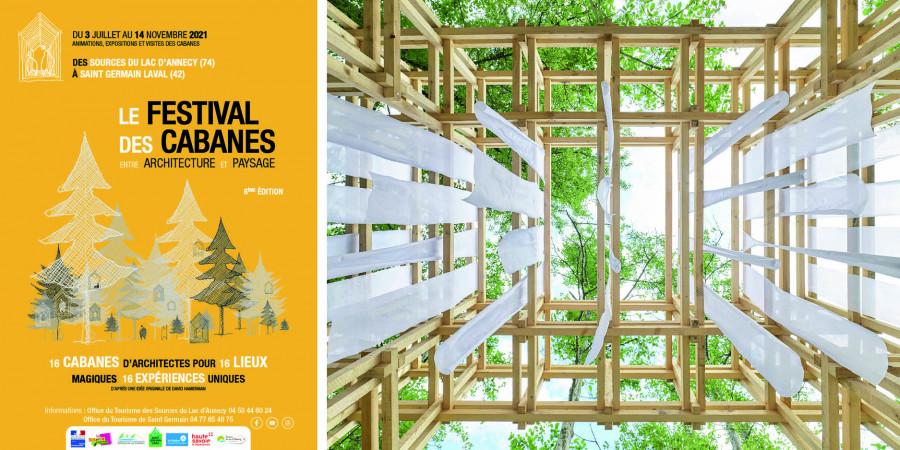 © Festival des Cabanes | Elsa Colin, Lydia Amara, Marc El Samrani, A l'Orée des Bois, Réserve naturelle du Bout du Lac, 2020, Réserve naturelle du Bout du Lac © David Foessel
